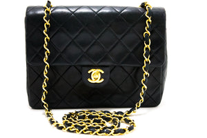 CHANEL Mini Square Small Chain Shoulder Bag Crossbody Black Purse s49
