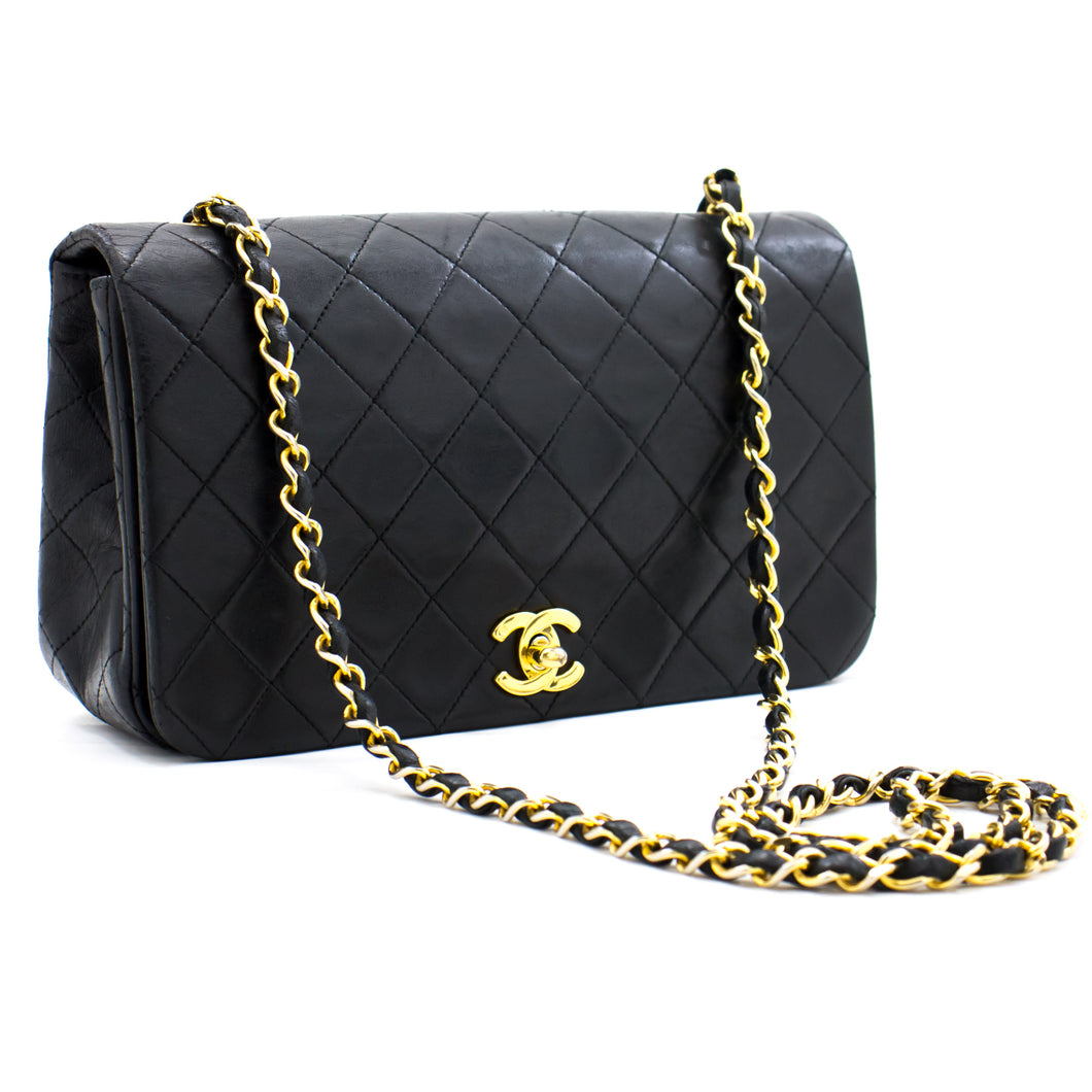 CHANEL Full Flap Chain Shoulder Bag Crossbody Black Quilted Lamb b47 hannari-shop