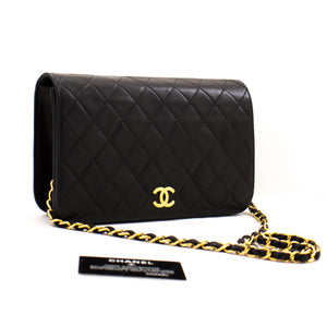 CHANEL Chain Shoulder Bag Clutch Black Quilted Flap Lambskin Purse z48 hannari-shop