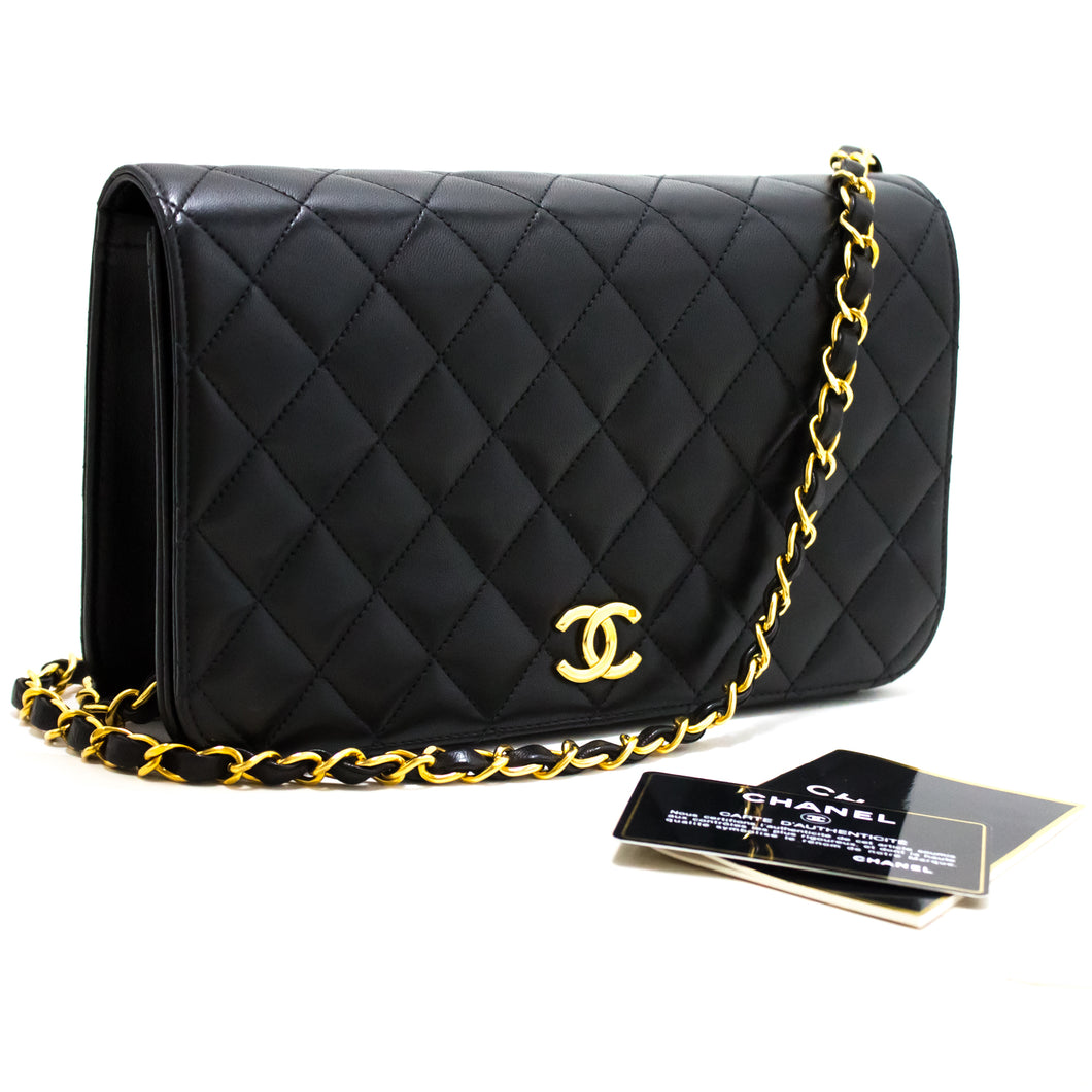 CHANEL Chain Shoulder Bag Clutch Black Quilted Flap Lambskin Purse s50-hannari-shop