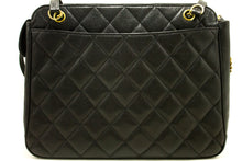 CHANEL Caviar Sun Charm Shoulder Bag Black Quilted Leather Zipper j64