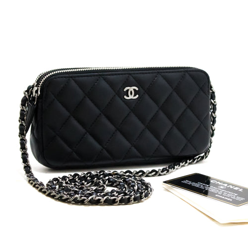CHANEL Lambskin Wallet On Chain WOC Double Zip Chain Caner Bag s21-hannari-shop