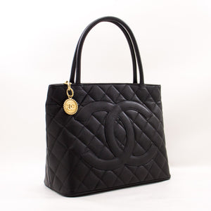 CHANEL Gold Medallion Caviar Shoulder Bag Grand Shopping Tote z35 hannari-shop