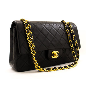 "CHANEL 2.55 Double Flap 10 ""Chain Bheti Bhegi Guru Black Lambskin z54 hannari-shopu"