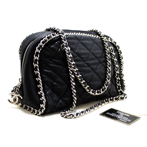 CHANEL Luxury Line Chain Around Shoulder Bag Black Quilted Zipper s30-hannari-shop