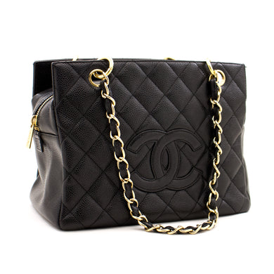 CHANEL Caviar Chain Shoulder Bag Shopping Tote Black Quilted Purse z56 hannari-shop