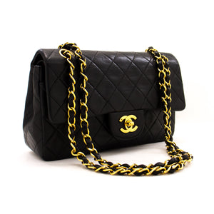 "CHANEL 2.55 Double Flap 9"" Chain Shoulder Bag Black Lambskin z53 hannari-shop"