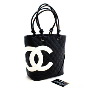 CHANEL Cambon Tote Small Shoulder Bag Black White Quilted Calfskin s32