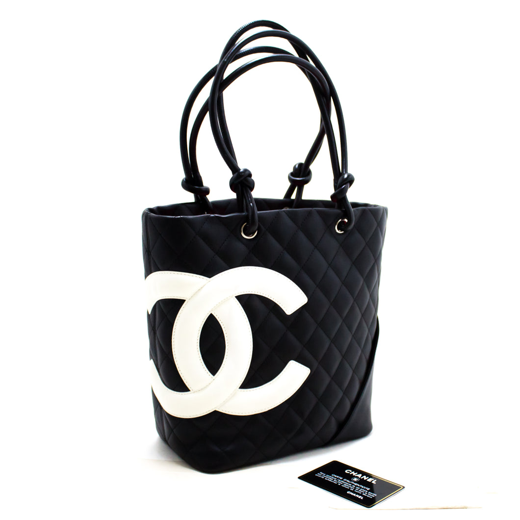 CHANEL Cambon Tote Small Shoulder Bag Black White Quilted Calfskin s32-hannari-shop