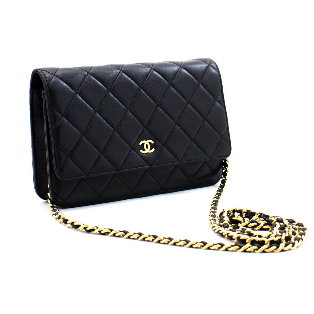 CHANEL Black Classic Wallet On Chain WOC Shoulder Bag Crossbody b77 hannari-shop