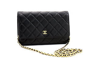 CHANEL Black Classic Wallet On Chain WOC Taška přes rameno Crossbody b77 hannari-shop