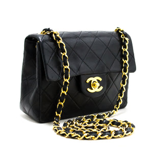CHANEL Mini Square Small Chain Shoulder Bag Crossbody Black Purse s48-hannari-shop