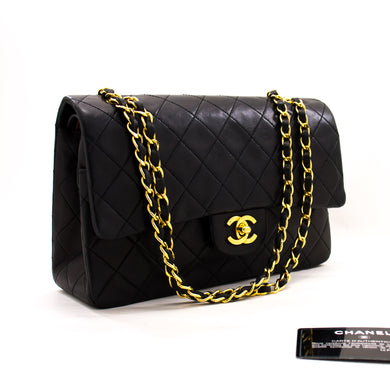 CHANEL 2.55 Double Flap Medium Chain Shoulder Bag Black Lambskin z57 hannari-shop