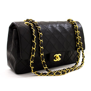 "CHANEL 2.55 Double Flap 10 ""Chain Shoulder Bag Black Lambskin z61 hannari-shop"