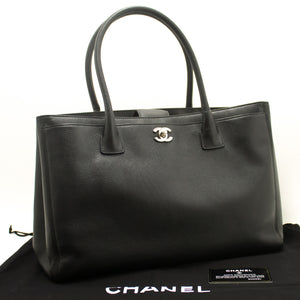 CHANEL Executive Tote Caviar Shoulder Bag Black Silver Handbag h62