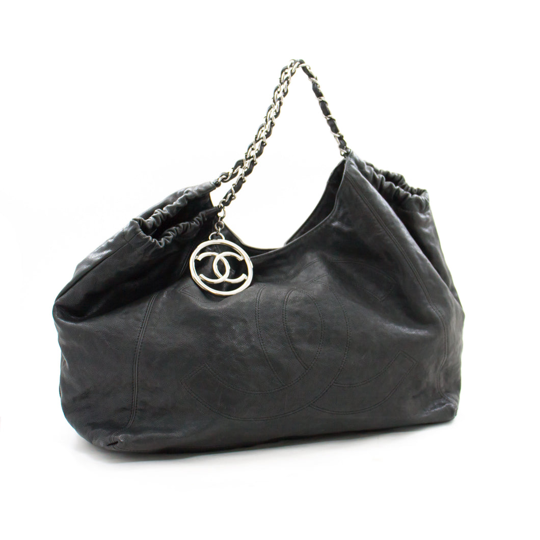 CHANEL Coco Cabas Caviar Black Leather Chain Shoulder Bag Silver b53 hannari-shop