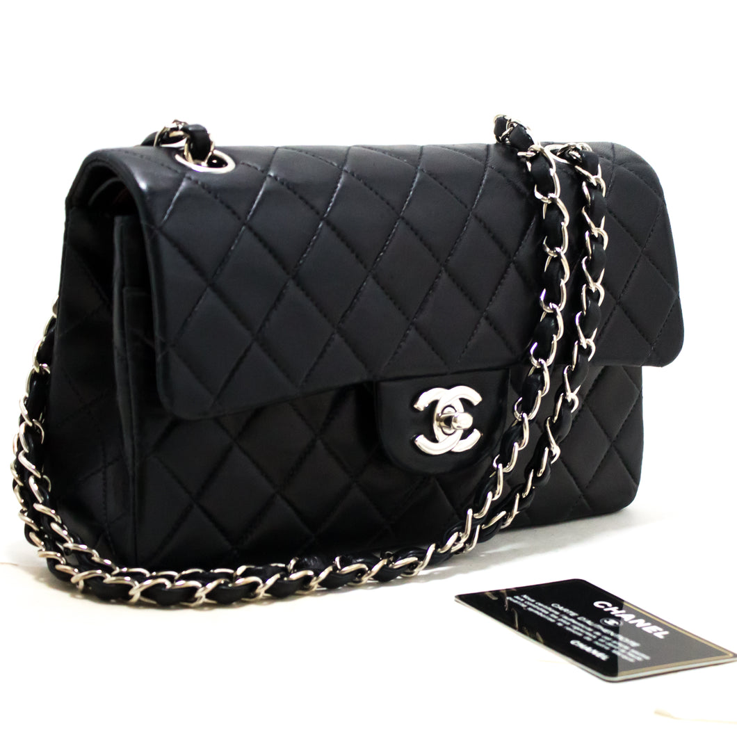 CHANEL 2.55 Double Flap Silver Chain Shoulder Bag Black Lambskin s55-hannari-shop