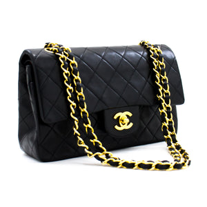 "CHANEL 2.55 Double Flap 9 ""Chain Shoulder Bag Black Lambskin b81 hannari-shop"