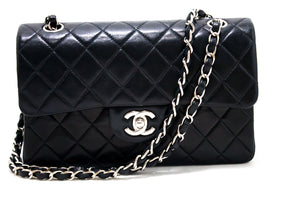 CHANEL 2.55 Double Flap Silver Chain Bag Spalla Black Black Lambskin s55-hannari-shop