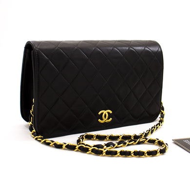 CHANEL Chain Shoulder Bag Clutch Black Quilted Flap Lambskin Purse z64 hannari-shop