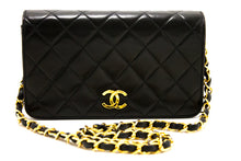 CHANEL Small Chain Shoulder Bag Clutch Black Quilted Flap Lambskin s42-hannari-shop