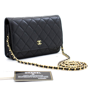 CHANEL Caviar Wallet On Chain WOC Borsa a tracolla nera Crossbody b92 hannari-shop