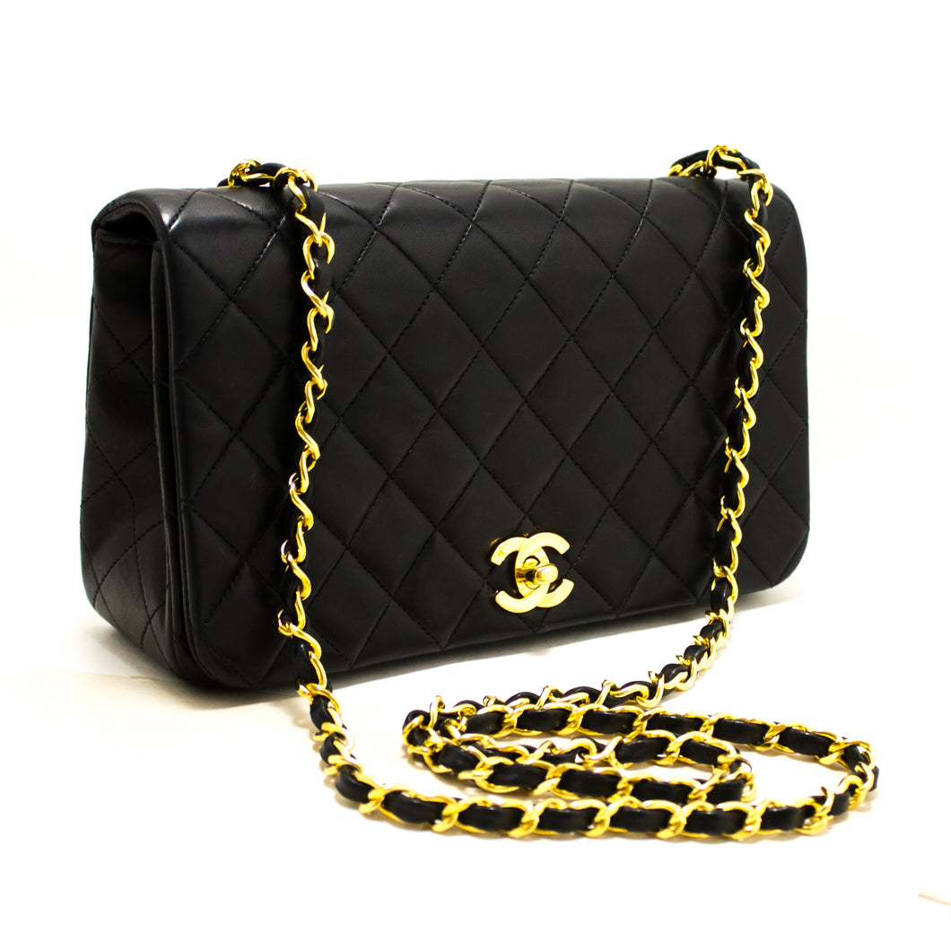 CHANEL Chain Shoulder Bag Crossbody Black Quilted Flap Lambskin s56-hannari-shop