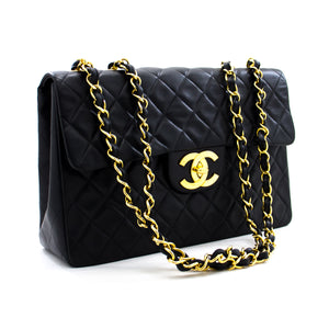 "CHANEL Jumbo 13 ""Maxi 2.55 Flap Chain Shoulder Bag Black Lambskin y89 hannari-shop"