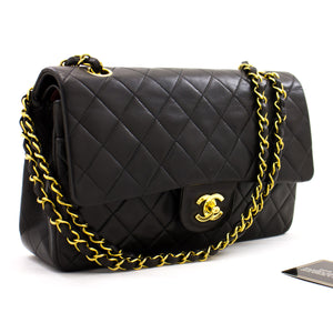 "CHANEL 2.55 Double Flap 10 ""Chain Shoulder Bag Black Lambskin z59 hannari-shop"