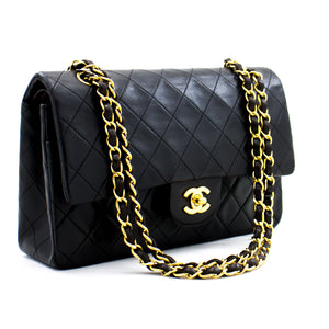 "CHANEL 2.55 Double Flap 10 ""ሰንሰለት የትከሻ ቦርሳ ጥቁር ላምብስኪን b79 ሀናሪ-ሱቅ"