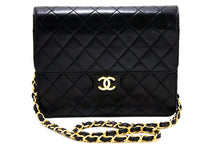 CHANEL Small Chain Shoulder Bag Clutch Black Quilted Flap Lambskin s43-hannari-shop