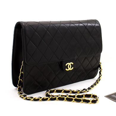 CHANEL Chain Shoulder Bag Clutch Black Quilted Flap Lambskin z67 hannari-shop