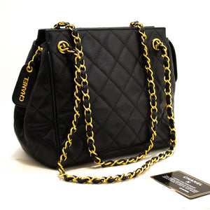 CHANEL Caviar Chain Shoulder Bag Black Quilted Leather Gold Zipper s44-hannari-shop