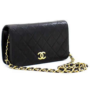 CHANEL Full Flap Chain Shoulder Bag Clutch Black Quilted Lambskin b87 hannari-shop