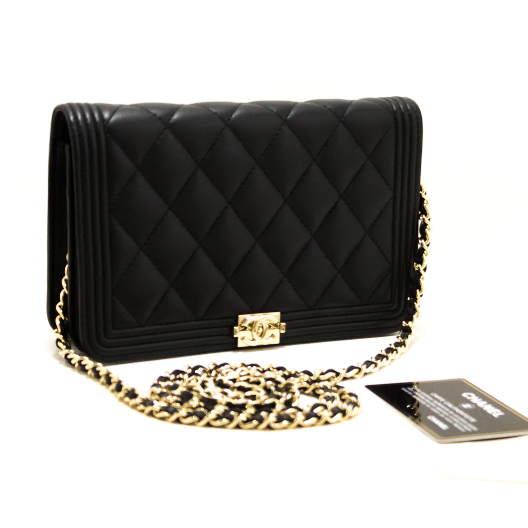 CHANEL Boy WOC Wallet On Chain Shoulder Bag Black Quilted Flap s22-hannari-shop