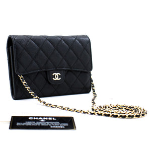 CHANEL Caviar Small Wallet On Chain WOC Black Shoulder Bag Purse c03 hannari-shop