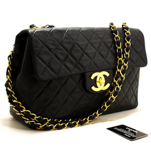 "CHANEL Jumbo 13 ""Maxi 2.55 Flap Chain Shoulder Bag Black Lambskin s19-hannari-shop"