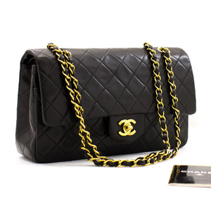 "CHANEL 2.55 Double Flap 10 ""Classic Chain Shoulder Bag Black Purse z58 hannari-shop"