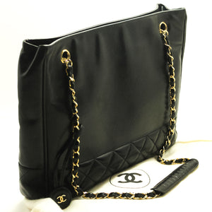 CHANEL Chain Shoulder Bag Black Quilted Lambskin Leather Office 560