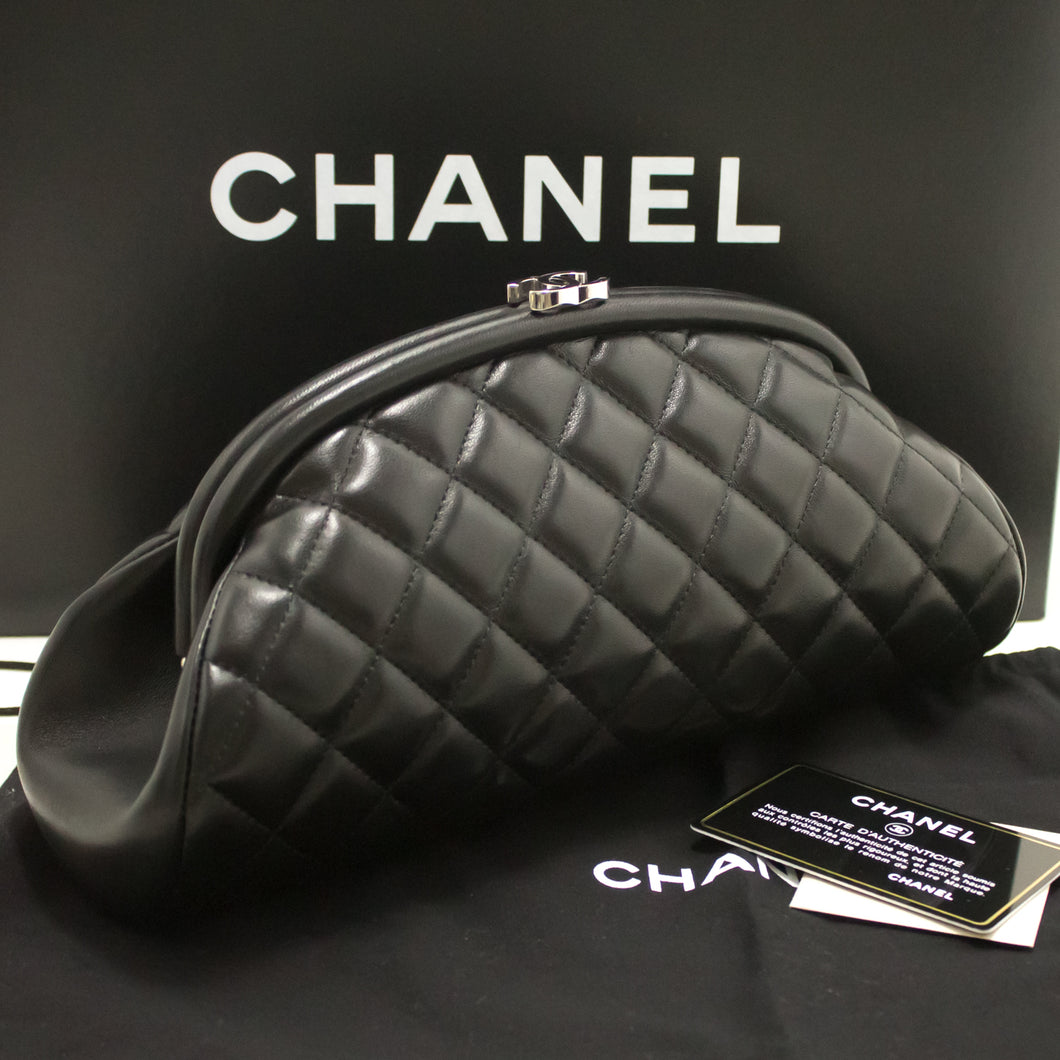 CHANEL Lambskin Timeless Clutch Bag Black Quilted Silver Hardware k46-Chanel-hannari-shop