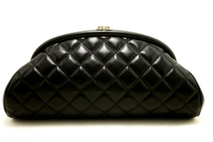 CHANEL Lambskin Timeless Clutch Bag Black Quilted Silver Hardware k46
