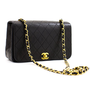 CHANEL Chain Shoulder Bag Crossbody Black Quilted Flap Lambskin z71 hannari-shop