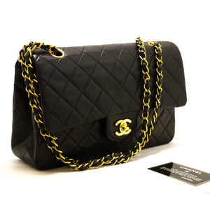 "CHANEL 2.55 Double Flap 10"" Chain Shoulder Bag Black Lambskin s17-hannari-shop"