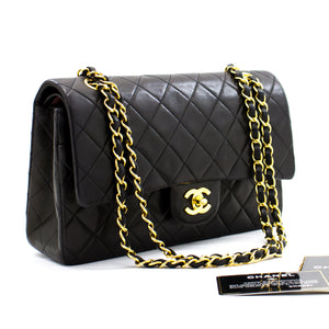 "CHANEL 2.55 Double Flap 10 ""ሰንሰለት የትከሻ ቦርሳ ጥቁር ላምብስኪን b96 ሀናሪ-ሱቅ"