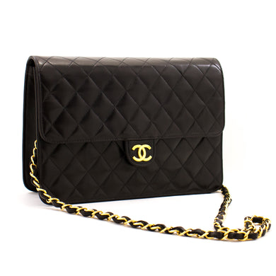 CHANEL Chain Shoulder Bag Clutch Black Quilted Flap Lambskin Purse z68 hannari-shop