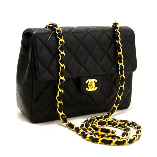 CHANEL Mini Square Small Chain Shoulder Bag Crossbody Black Purse s53-hannari-shop