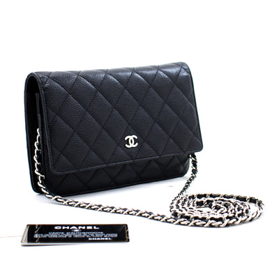 CHANEL Caviar Wallet On Chain WOC Black Shoulder Bag Crossbody c04 hannari-shop
