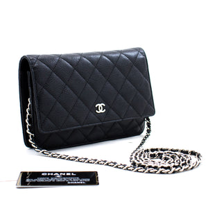CHANEL Caviar Wallet On Chain WOC Borsa a tracolla nera Crossbody c04 hannari-shop