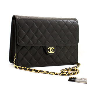 CHANEL Chain Shoulder Bag Clutch Black Quilted Flap Lambskin Purse z73 hannari-shop