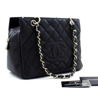 CHANEL Caviar Chain Shoulder Bag Shopping Tote Black Quilted b95 hannari-shop